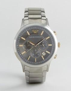 Серебристые часы 43 мм с хронографом Emporio Armani AR11047 - Серебряный