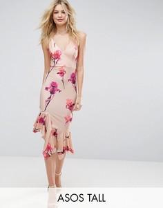 Платье миди из крепа с цветочным принтом и асимметричным краем ASOS TALL - Розовый