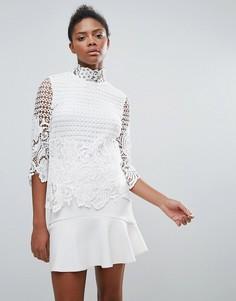 Кружевная блузка с высокой горловиной Vila - Белый