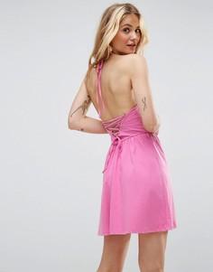 Свободный сарафан мини со шнуровкой на спине ASOS - Розовый