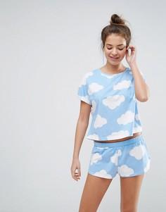 Пижамный комплект с футболкой и шортами с принтом облаков ASOS - Мульти
