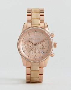 Часы цвета розового золота с хронографом Michael Kors Ritz - Золотой