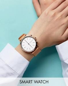Смарт-часы со светло-коричневым ремешком Skagen Hald - Золотой