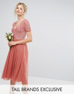 Платье мини с тюлевой юбкой, глубоким вырезом и декоративной отделкой лифа Maya Tall - Розовый