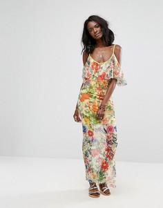 Платье макси с цветочным принтом Boohoo - Желтый