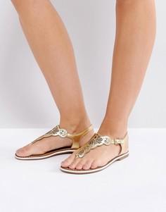 Кожаные сандалии с вырезанным лазером узором Dune LILL - Золотой