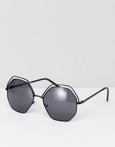 Черные металлические солнцезащитные очки с вырезами AJ Morgan - Черный