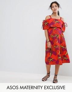 Платье с тропическим принтом и открытыми плечами ASOS Maternity - Мульти