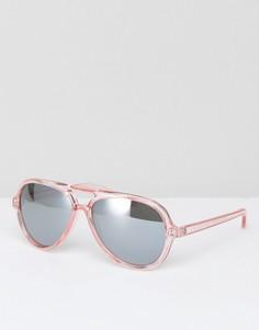 Розовые пластмассовые солнцезащитные очки-авиаторы AJ Morgan - Розовый