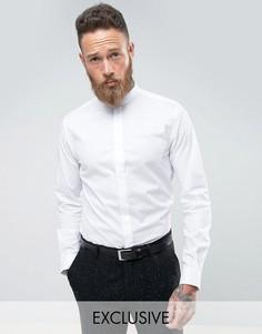 Строгая приталенная рубашка с воротником на пуговице Noose & Monkey - Белый