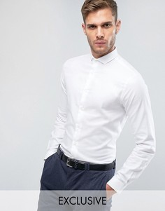 Строгая зауженная рубашка со срезанным воротником Heart & Dagger - Белый