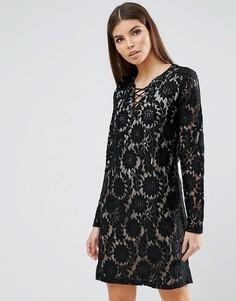 Кружевное платье мини b.Young - Черный