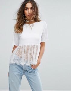 Oversize-футболка с кружевной вставкой по низу PrettyLittleThing - Белый