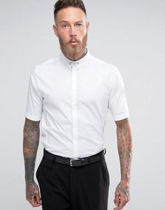 Зауженная эластичная рубашка в строгом стиле с короткими рукавами Religion - Белый