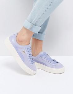 Сиреневые кроссовки из замши и атласа на плоской платформе Puma - Фиолетовый
