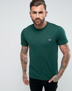 Зеленая узкая футболка с круглым вырезом и логотипом Fred Perry - Зеленый