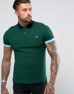 Зеленая узкая футболка-поло в стиле колор блок Fred Perry - Зеленый