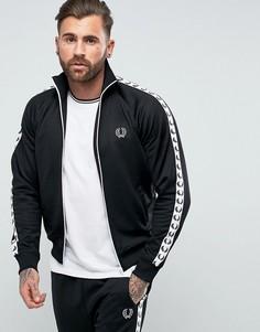 Черная узкая спортивная куртка с лентой Fred Perry Sports Authentic - Черный