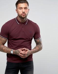 Фиолетовая узкая футболка-поло с контрастными полосками Fred Perry - Красный