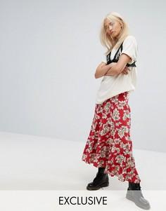 Фестивальная ярусная юбка макси в винтажном стиле с цветочным принтом Milk It - Красный