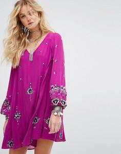Платье мини с вышивкой Free People - Фиолетовый