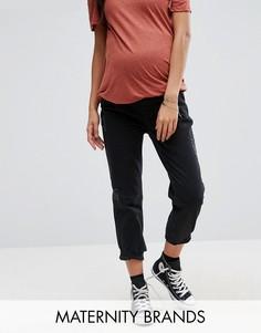 Джинсы бойфренда для беременных с посадкой поверх живота New Look Maternity - Черный
