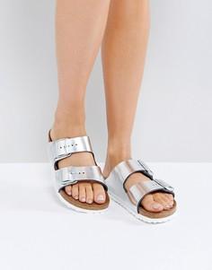 Серебристые кожаные сандалии цвета металлик Birkenstock Arizona - Серебряный
