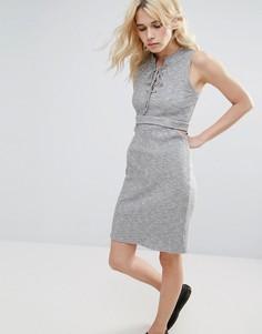 Платье в рубчик с вырезом Greylin Freija - Серый