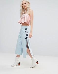 Юбка-шорты с разрезами N12H - Синий