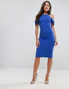 Фактурное платье миди с рукавами-оборками ASOS - Бежевый
