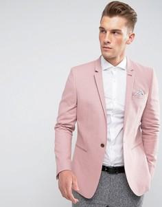 Зауженный блейзер из хлопка и льна ASOS - Розовый