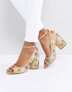 Туфли на каблуке с открытым носком и вышивкой ASOS ORNAMENT - Бежевый