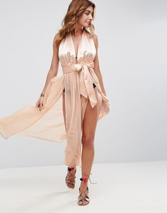 Пляжное атласное платье макси с бретелью через шею и полупрозрачной юбкой ASOS - Бежевый