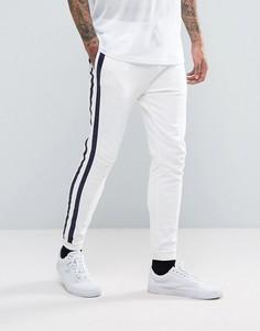 Белые облегающие джоггеры с контрастной лентой ASOS - Белый