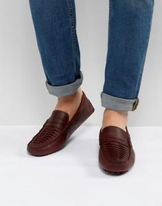Бордовые кожаные мокасины с плетением ASOS - Красный