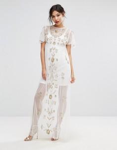 Сетчатое платье макси с отделкой Boohoo - Белый