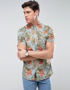 Рубашка с гавайским цветочным принтом Produkt - Синий