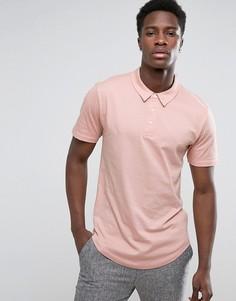 Трикотажная футболка-поло с закругленным низом Troy - Розовый