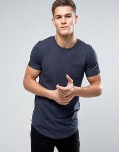 Удлиненная футболка с карманом Produkt - Темно-синий