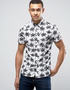 Рубашка с короткими рукавами и пальмами Blend - Белый