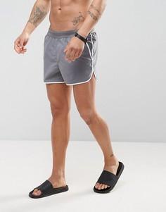 Серые короткие шорты для плавания ASOS Runner - Серый