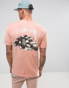 Футболка с розами на спине Stussy - Розовый