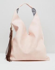 Сумка на плечо с контрастными кисточками Yoki Fashions - Розовый