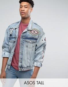 Синяя выбеленная джинсовая куртка с вышивкой ASOS TALL - Синий