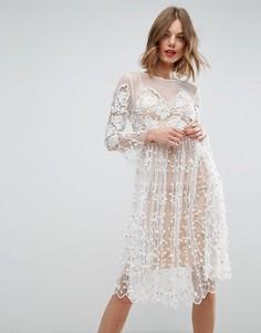 Кружевное свободное платье мини ASOS SALON - Белый