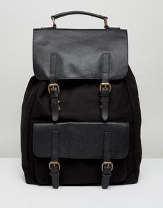 Черный холщовый рюкзак с кожаной отделкой ASOS - Черный