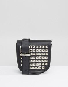 Кожаная сумка-кошелек на пояс с заклепками Park Lane - Черный