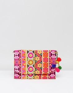 Клатч с вышивкой и съемным ремешком Park Lane - Розовый