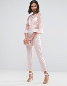 Комбинезон с кружевным лифом и атласными брюками ASOS - Розовый