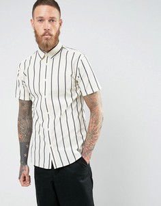 Рубашка узкого кроя с короткими рукавами Selected Homme - Темно-синий